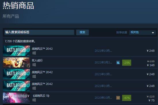 压抑已久《战地2042》屠夫之作飞仙到Steam上首榜