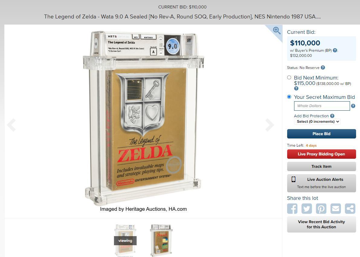 87年《塞尔达传说》目前开启拍卖天价11万美元
