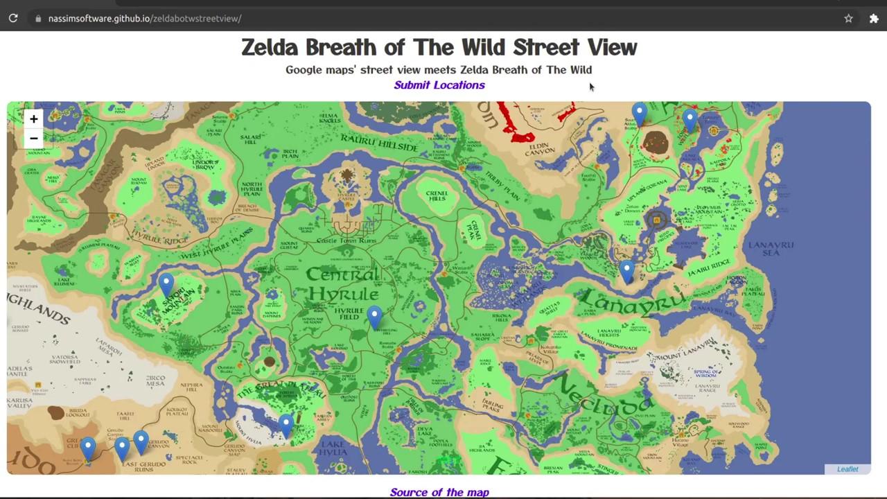 """粉丝力作:""""谷歌地图""""《塞尔达传说:旷野之息》正式展开内容"""