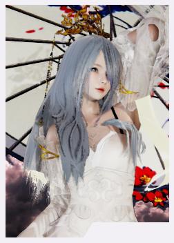 《AI少女》银发蓝瞳优雅白色连衣裙小姐姐MOD