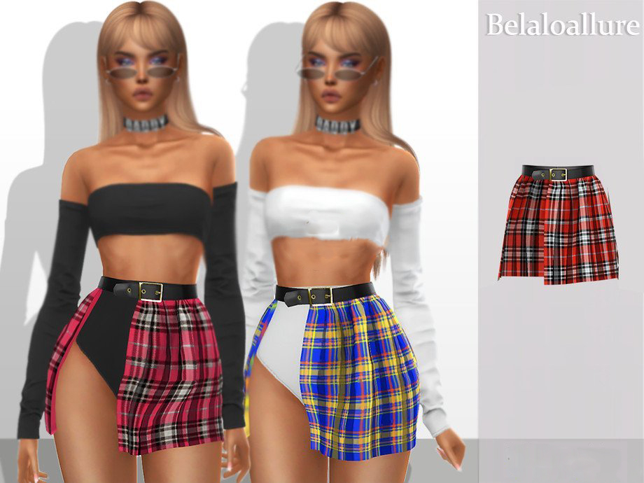 《模拟人生4》皮带格子短裙MOD