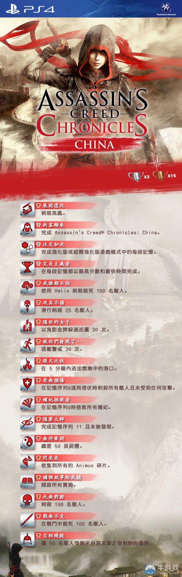 《刺客信条:编年史之中国》PS4成就列表:女刺客拯救后宫!