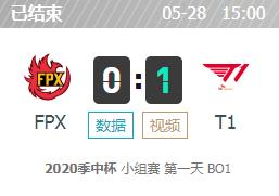LOL2020季中杯5月28日FPX vs T1比赛视频